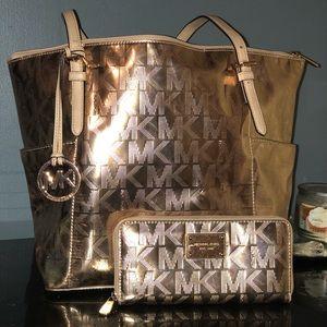 Metallic Rose gold Michael Kors bag and wallet
